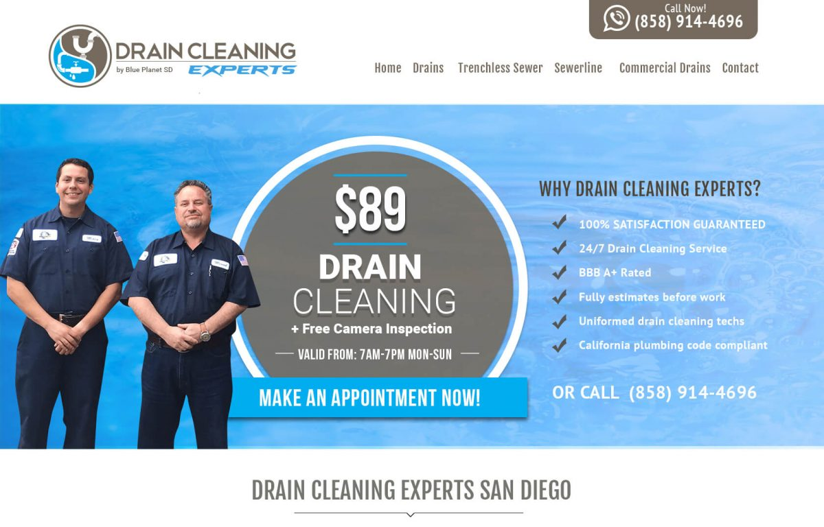 Drain Cleaning Website San Diego, CA